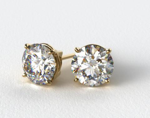 18k Yellow Gold 1/2ctw Ladies Four Prong Round Brilliant Diamond Earrings