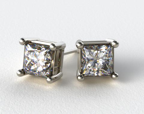 18k White Gold 1.00ctw Classic 4 Prong Asscher Cut Diamond Earrings