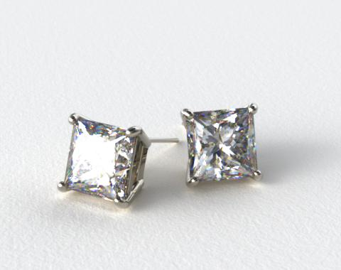 Platinum Princess Cut Stud Earring Settings