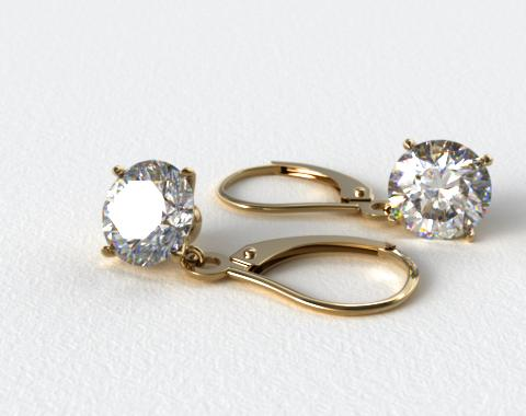 18k Yellow Gold 0.50ctw Diamond Leverback Dangle Earrings