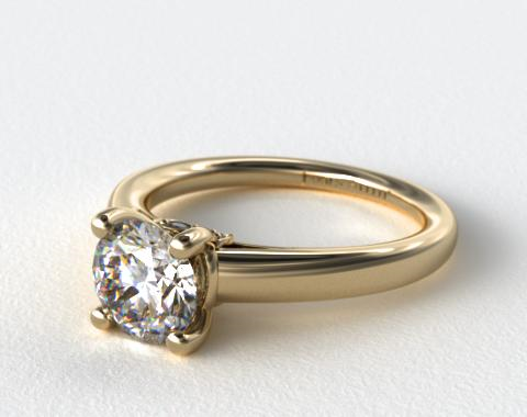 14k Yellow Gold Double Pave Leaf Engagement Ring