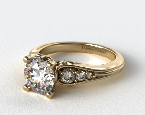 14k Yellow Gold Graduated Pave Swirl Engagement Ring