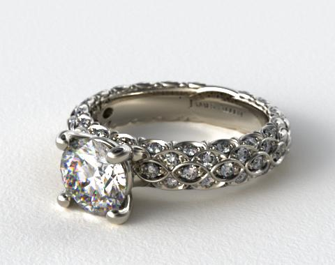 Platinum Pave Marquise Scallop Engagement Ring