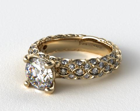14K Yellow Gold Pave Marquise Scallop Engagement Ring