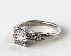 18k White Gold Single Drop Pave Wavy Engagement Ring