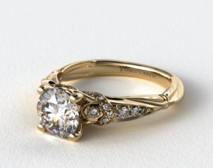 14k Yellow Gold Graduated Pave Engagement Ring