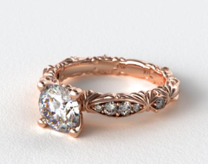 14K Rose Gold Single Row Pave Cascading Engagement Ring