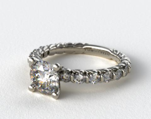 14k White Gold Single Bar Set Engagement Ring