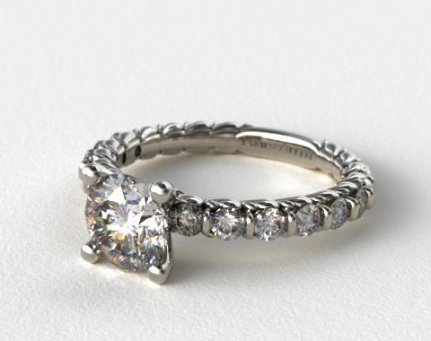 18k White Gold Single Bar Set Engagement Ring