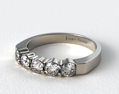 14K White Gold 0.90ct Five Stone Diamond Wedding Ring