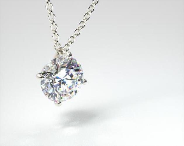 18K White Gold 1.00ct H-I, SI Diamond Wire Basket Pendant