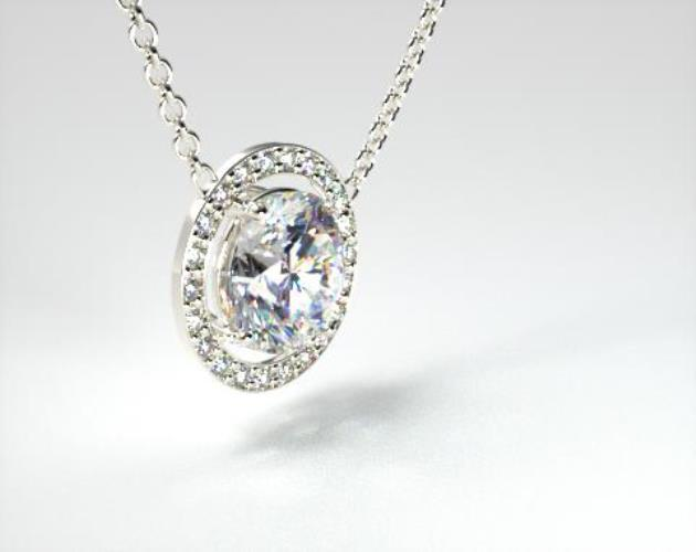 18K White Gold 1.00ct H-I, SI Pave Set Frame Diamond Pendant