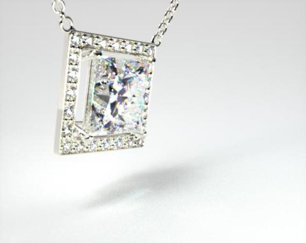 18K White Gold 0.75ct Pave Set Frame Diamond Pendant
