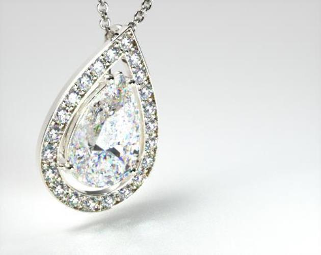 18k White Gold 1.00ct Pave Set Frame Diamond Pendant