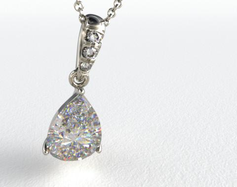 18k White Gold Pave Bail Pendant Setting