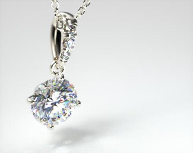 18k White Gold 1.00ct H-I, SI Pave Bail Diamond Pendant