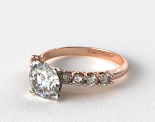 14K Rose Gold 0.50ct Prong Set Round Shaped Diamond Engagement Ring