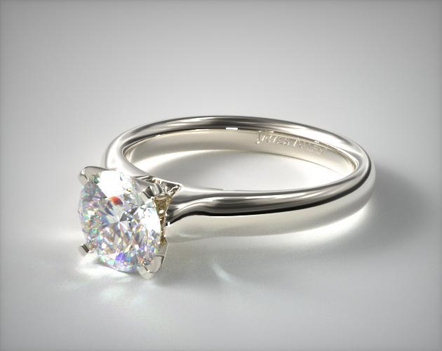 Platinum Heavy Contour Solitaire Engagement Ring