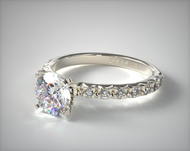 18K White Gold 0.32ct French Cut Pave Diamond Engagement Ring