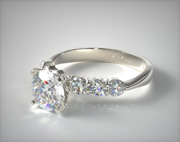18K White Gold Common Prong Six Round Diamond Engagement Ring 11009W