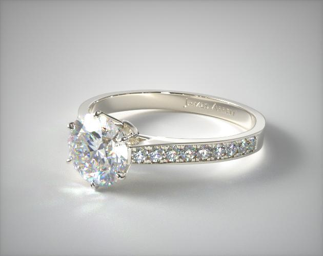 18K White Gold 2.6mm Six Prong Pave Diamond Engagement Ring