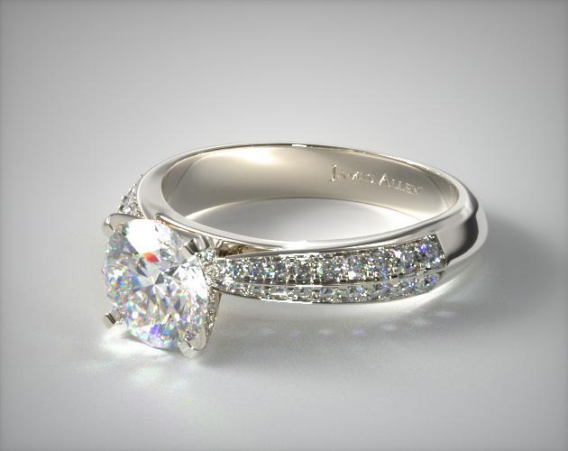 18K White Gold Tapered Knife-Edge Pave Set Diamond Engagement Ring