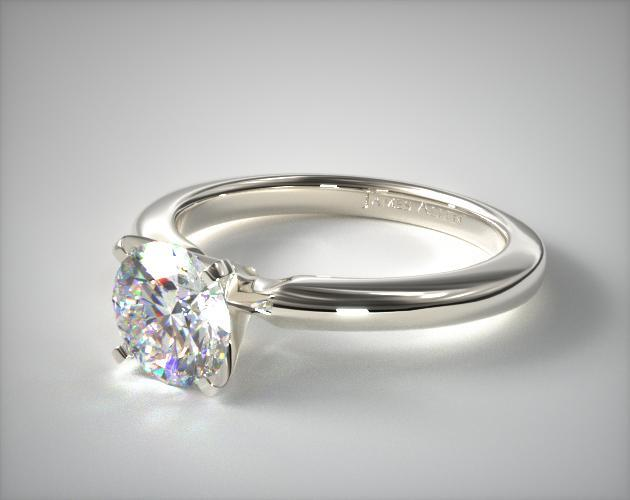 14K White Gold 2mm Comfort Fit Solitaire Engagement Ring