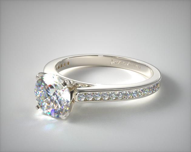 14K White Gold Thin Channel Set Round Shaped Diamond Engagement Ring