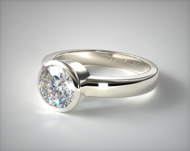 Platinum Bezel Set Round Shaped Diamond Solitaire Ring