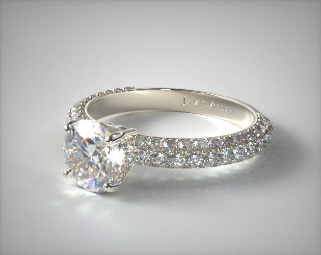18K White Gold 0.52ct Three Row Pave Set Rounded Diamond Engagement Ring