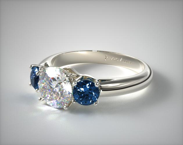 Platinum Three Stone Round Blue Sapphire Engagement Ring