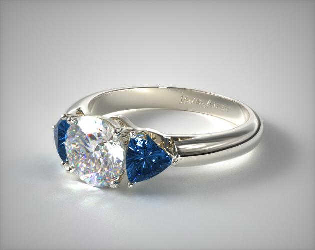 18K White Gold Three Stone Trillion Shaped Blue Sapphire Engagement Ring