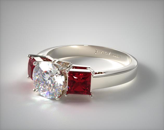 18K White Gold Three Stone Princess Shaped Ruby Engagement Ring