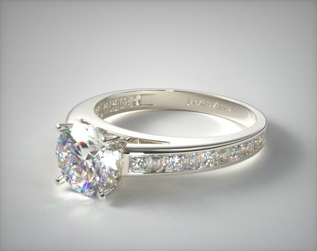 Platinum Channel Set Carre and Princess Shaped Diamond Engagement Ring