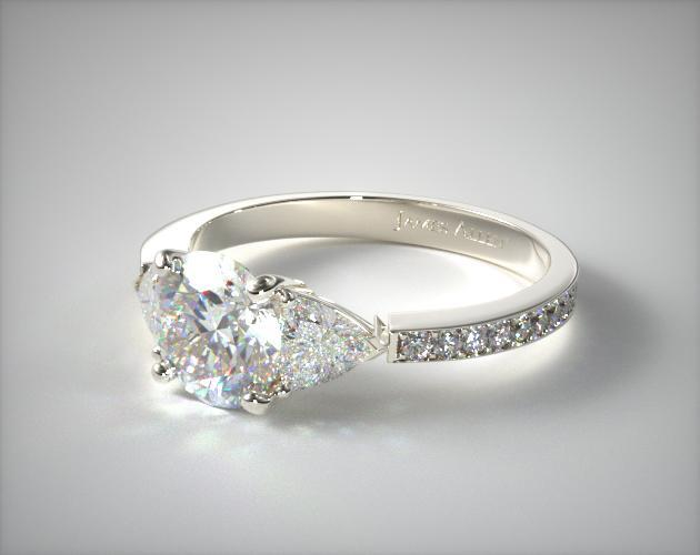18K White Gold Three Stone Trillion and Pave Set Diamond Engagement Ring