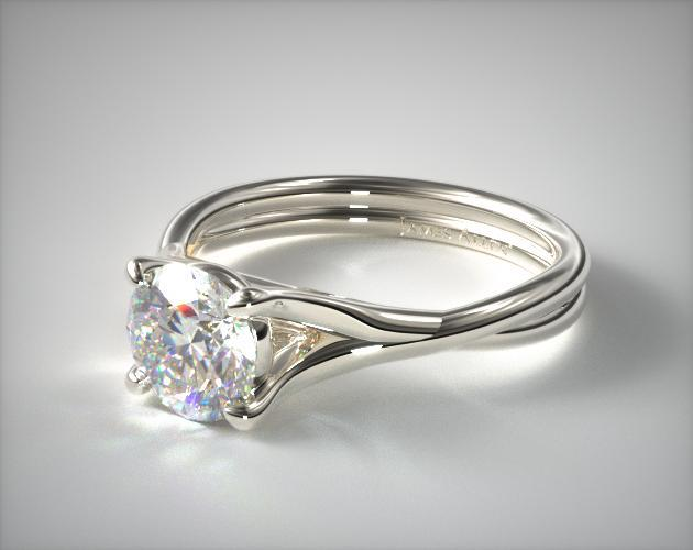 18K White Gold Twisted Shank Contemporary Solitaire