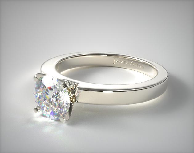 14K White Gold Flat Edged Diamond Solitaire Engagement Ring