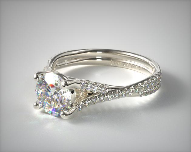 14K White Gold Twisted Pave Shank Engagement Ring