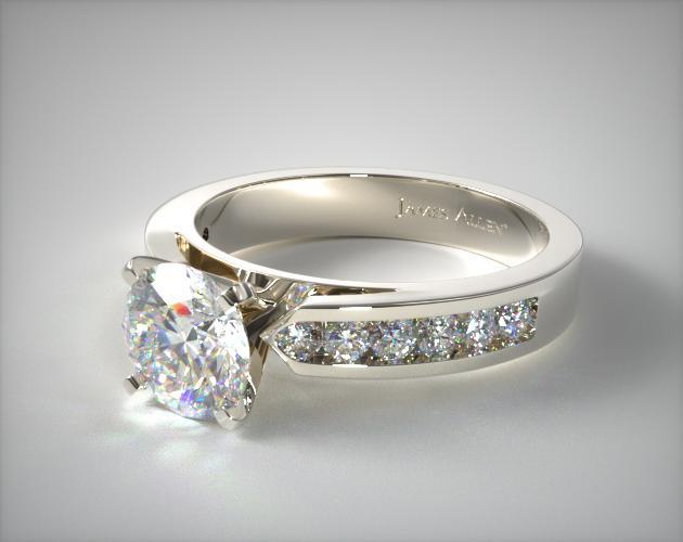 Platinum Cathedral Channel Set Diamond Engagement Ring