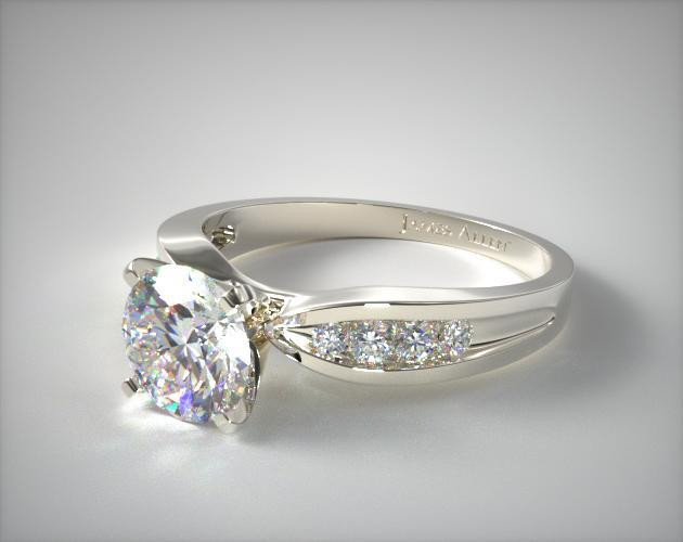 Platinum Bow-Tie Channel Set Round Shaped Diamond Engagement Ring