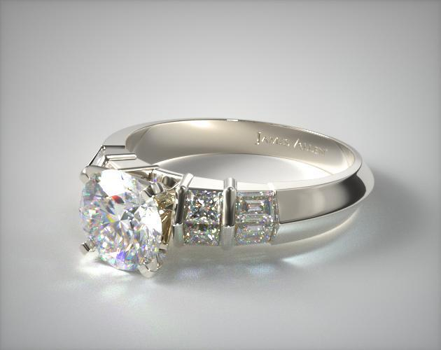18K White Gold Knife-Edge Princess and Baguette Diamond Engagement Ring