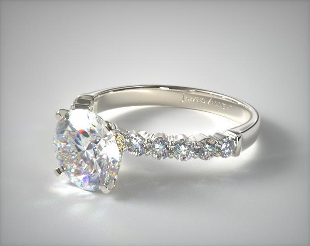 18K White Gold Common Prong Ten Round Diamond Engagement Ring