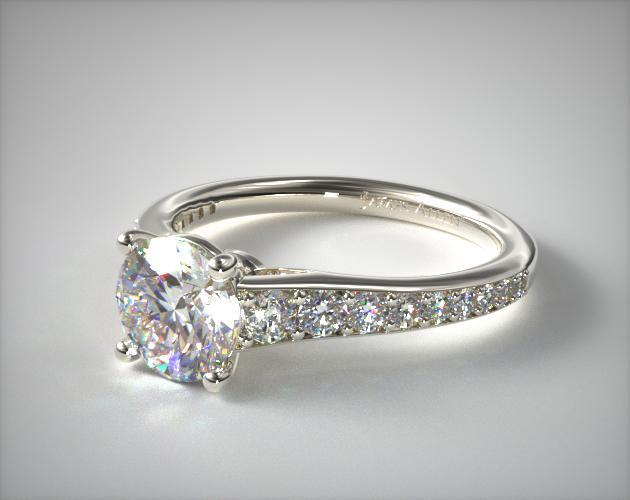 14K White Gold Inspired Diamond Engagement Ring