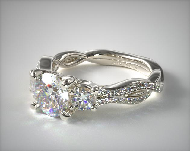 Platinum Three Stone Diamond Infinity Engagement Ring