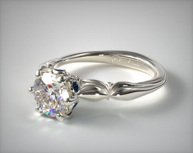14K White Gold Sapphire Bezel Diamond Engagement Ring
