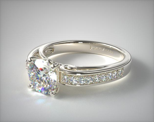 Platinum Arched Scroll Diamond Engagement Ring