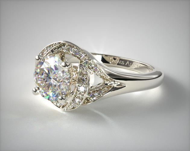 18K White Gold Love Knot Diamond Engagement Ring