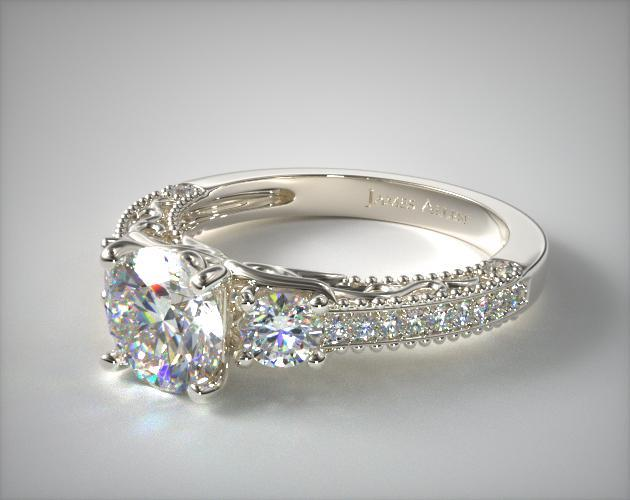 18K White Gold Floral Scroll Engagement Ring