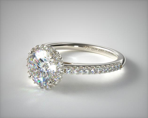 14K White Gold Petite Diamond Halo Engagement Ring