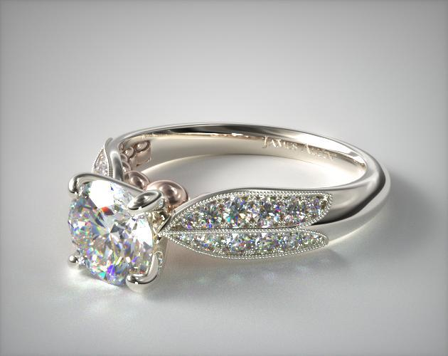 14K White Gold Pave and Rose  Diamond Engagement Ring